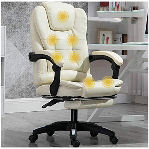 Silla de oficina de cuero muebles de oficina de entretenimiento silla de cuero silla de entrenamiento personal silla de oficina oficina giratoria silla ocio cuero beige claro
