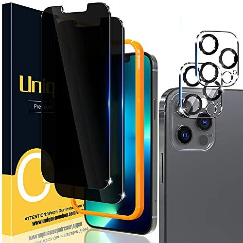[2+2 Pack] UniqueMe Compatible con iPhone 13 Pro Max 6.7 Pulgadas Privacidad Protector de Pantalla y Protector de lente de cámara, Vidrio Templado [9H Dureza] [Marco de Alineación] Cristal Templado
