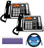 Motorola ML25260 DECT 6.0 Expandable Corded 2-Line Business Phones with Full Duplex Speakerphone and Caller ID/Call Waiting (2-Pack) Bundle with Blucoil 10-FT 1 Gbps Cat5e Cable and 10 AAA Batteries