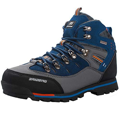 YAER Hombre Botas De Senderismo, Trekking A Prueba De Agua Zapatos Al Aire Libre Azul EU43