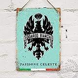 SIGNCHAT Bianchi Celeste Fahrrad-Blechschild Vintage Metalldekor Metallschild Wand Metall Blechschild 20,3 x 30,5 cm