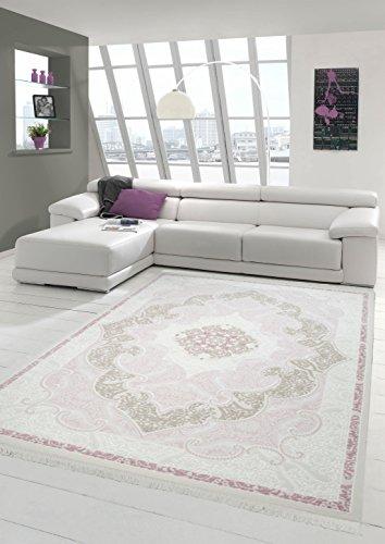Traum Designer Teppich Moderner Teppich Wollteppich Meliert Wohnzimmer Teppich Wollteppich Ornament Rose Creme Größe 80x150 cm