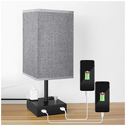 USB Bedside Table Lamp, PENDEI Table Lamp with Dual USB Charging Ports 2 Power Outlet, Metal Base with Grey Linen Fabric Shade, Nightstand Lamps for Bedroom Living Room Office (LED Bulb Included)