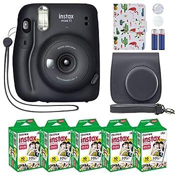 Fujifilm Instax Mini 11 Instant Camera + MiniMate Accessory Bundle & Compatible Custom Case + Fuji Instax Film Value Pack  50 Sheets  Flamingo Designer Photo Album  Charcoal Gray Standard Packaging
