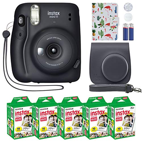 Fujifilm Instax Mini 11 Instant Camera + MiniMate Accessory Bundle & Compatible Custom Case + Fuji Instax Film Value Pack (50 Sheets) Flamingo Designer Photo Album (Charcoal Gray, Standard Packaging)