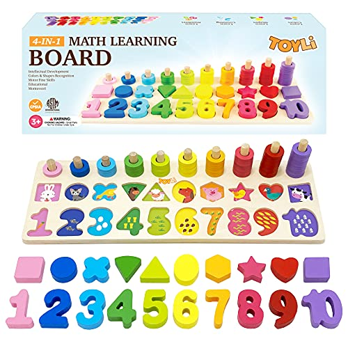 TOYLI Educational Math Learning Board and Puzzle Wooden 4 in 1 for Toddler Montessori Cognitive Counting Skills Color Shape Recognition for Kids