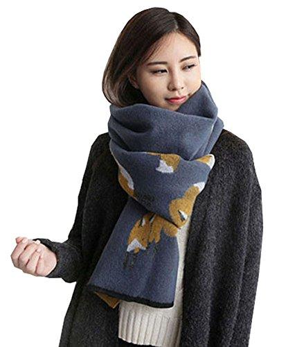 CYSTYLE Fuchs Schal-europäische Dame Winter und Winter Kaschmir Fuchs Schal Verdickung warme Schals (Stil 2)
