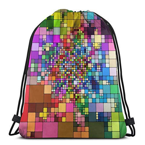 Easionerol Abstract Mosaic Drawstring Bags Gym Bag Travelling Portable