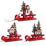 MeiLiu 3 Pezzi di Decorazioni Natalizie a Slitta, Decorazione da Tavolo Alce Pupazzo di Neve di Babbo Natale, Mini Giocattolo Artigianale in Legno per Bambini, Ornamenti da Giardino fatato