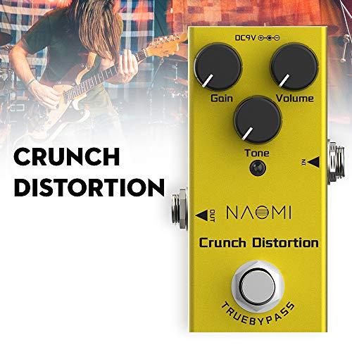 Loijon NEP-03 Pedal de efeito de distorção crunch para guitarras elétricas com True Bypass Mini pedal de guitarra única Classic Rock Distortion DC 9V Gold
