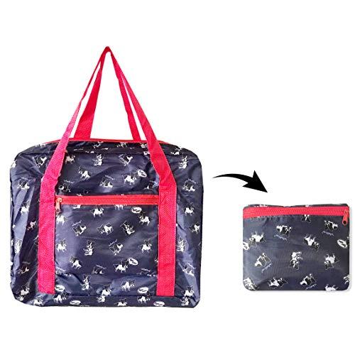 French Bulldog Foldable Travel Duffel Bag 20'' Lightweight Waterproof Travel Luggage Bag Dark Blue