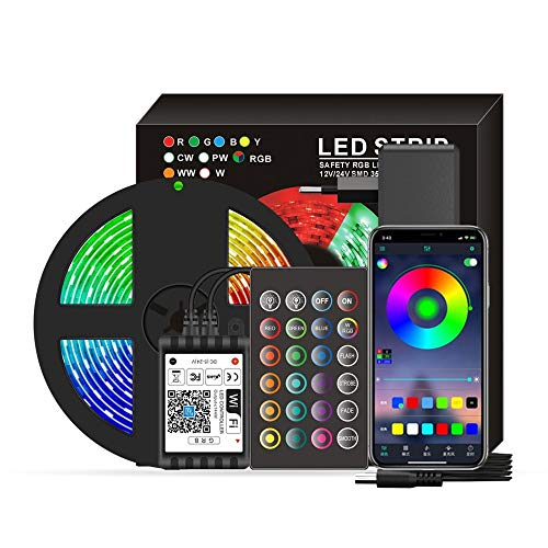 Smart Wifi Led 5050 Rgb Strip Lights Ip65 Waterproof 16.4ft. Lights With Voice & App & Remote, Christmas Decoration Light For Home Party Festival