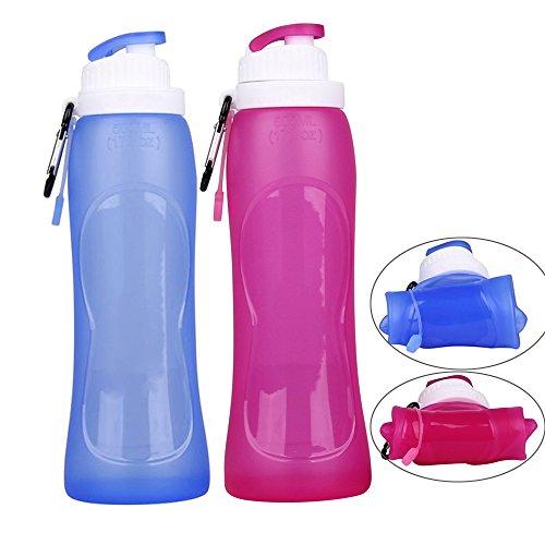 Exclura Lot de 2 bouteilles d'eau pliables en silicone de 500 ml pour voyage, camping, randonnée, cyclisme et autres activités de plein air, sans BPA, approuvées par la FDA, bleu + rouge