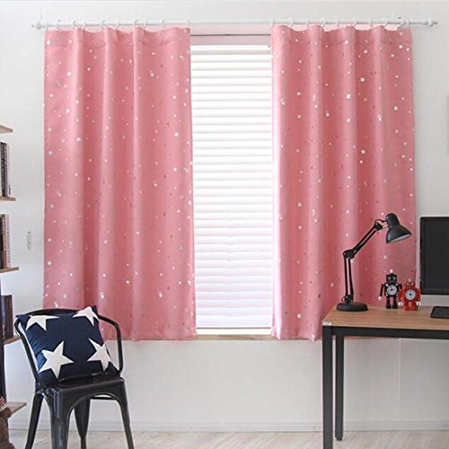 domybest Vorhang mit Ösen, Sterne bedruckt Fenster Drapes Einsätze für Schlafzimmer 100* 130cm rose