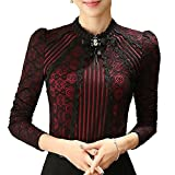 SansoiSan Women's Vintage Beaded Buttons Pleated Shirt Long Sleeve Lace Stretchy Blouse (Red, XXX-Large)