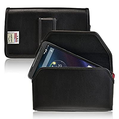 DROID Turbo Holster, Turtleback Motorola DROID Turbo Belt Case, Black Leather Pouch with Executive Belt Clip, Horizontal Made in USA