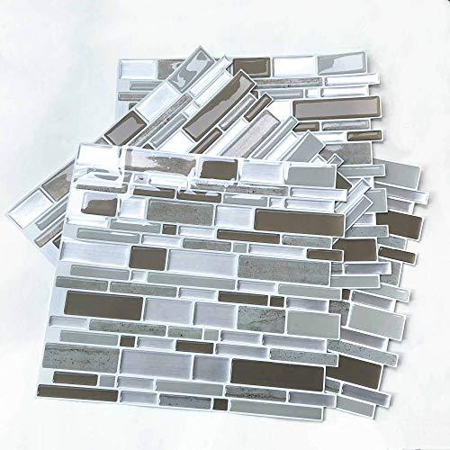 Fawyhr Piedra marrón Oblong Auto adhesivo Mosaico Mosaico de la pared etiqueta etiqueta DIY Cocina Baño Decoración del hogar Decoración Vinilo (4 PCS) Decoración hogareña (Size : 28.5 X 25.5 cm)