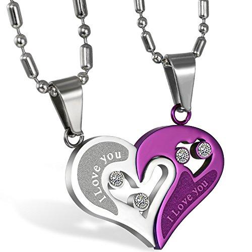 JewelryWe Schmuck 2PCS Paare Halskette Partnerketten Freundschaftsketten Partneranhänger Edelstahl I Love You Gravur Herz Puzzle Anhänger Kette Lila Silber