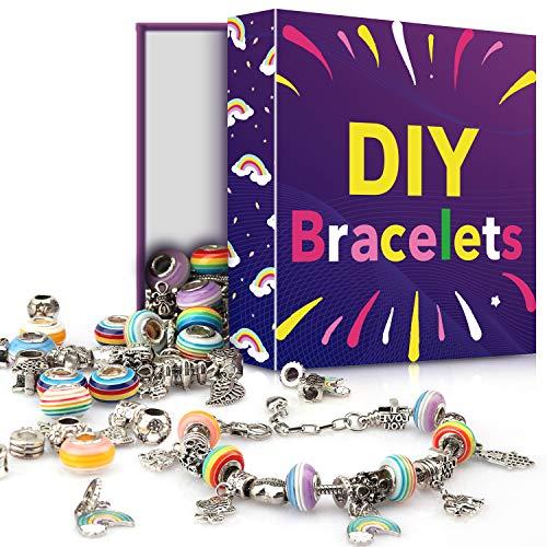 Sun studio Charm Armband Kit DIY Schmuck Bastelset Mädchen Handwerk Perle überzogen mit Silber Kette Schmuck Mädchen für Basteln MEHRWEG (Mehrfarbig)
