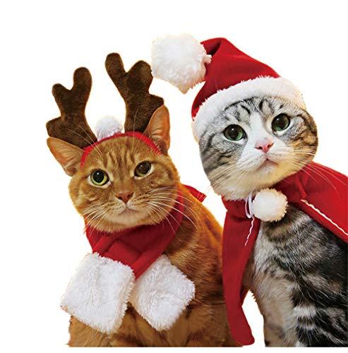Frmarche Katzen Weihnachtsmütze Schal Rentier Stirnband Umhang Weihnachtskostüm für Kat Hund Haustier (Haarband)