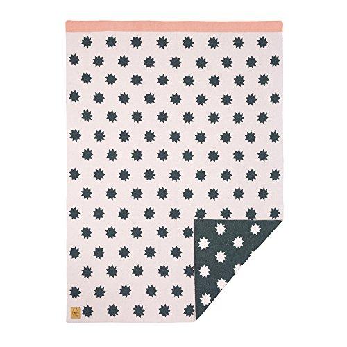 LÄSSIG Baby Kinderdecke Strickdecke weich Bio-Baumwolle GOTS zertifiziert/Baby Blanket Little Chums Stars pink