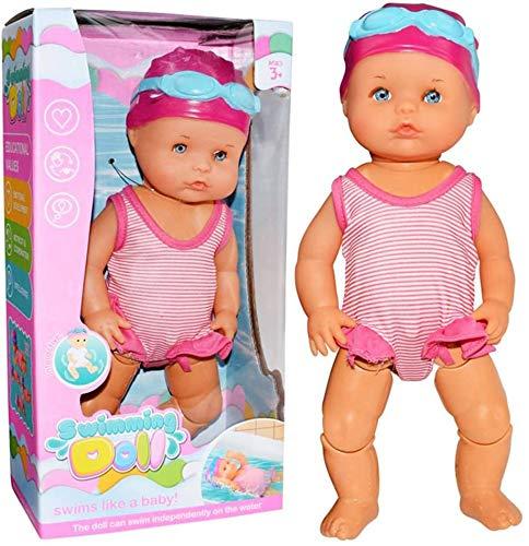 ALWWL Swimm Puppe, Born Baby Badepuppe, Schwimmende Puppe, Babys Schwimmt Puppe, Schwimmpuppe Baby, für Jungen, Mädchen Kid, Toddler, Badespielzeug, Geschenk, 12.99'' x 5.5'' x 3.5''