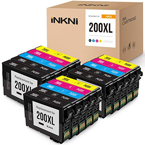INKNI Remanufactured Ink Cartridge Replacement for Epson 200XL 200 XL T200XL High Yield for Expression WF-2540 XP-310 XP-400 XP-200 XP-410 WF-2530 XP-200(6 Black, 3 Cyan, 3 Magenta, 3 Yellow, 15-Pack)