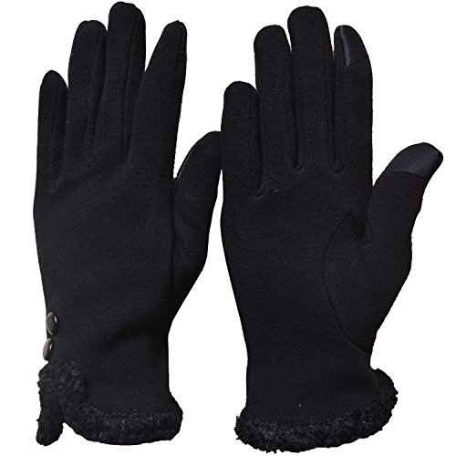 Woogwin Womens Touch Screen Gloves Texting Winter Warm Fleece Lined Ladies Gloves(Fluff - Black)