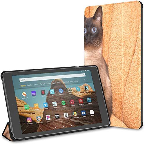 Estuche para Linda Tableta Siamese Cat Fire HD 10 de Ojos Azules (novena/séptima generación, versión 2019/2017) Estuche para Tableta Fire HD 10 Fire 10 HD Estuche para Tableta Auto Wake/Sleep par
