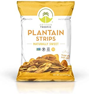 Artisan Tropic Plantain Strips - Your Tasty and Healthy Snack Alternative - Paleo, Gluten Free, Vegan, Non-GMO - Made With Sustainable Palm Oil and No Added Sugar (Sweet, 4.5 oz|2 pack)