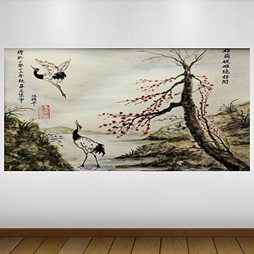 LagunaProject Extra Grande Roja de Japón Jardín de la fantasía de Vinilo Classic Póster - Mural Decoración - Etiqueta de la Pared -140cm x 70cm