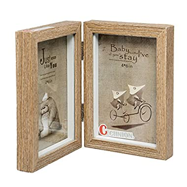 CECIINION Wood Photo Frame, Hinged Double Picture Frames With Glass Front,Fit For Stands Vertically on Desk Table Top(For 4x6in photo,Darker Wood Color)