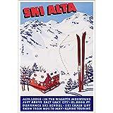Vintage Ski World Ski Alta Poster 1941 Dick Durrance Ski School Ski Poster Lodge Decor Wall Art - 24 x 36 inches, Comes in 3 Sizes