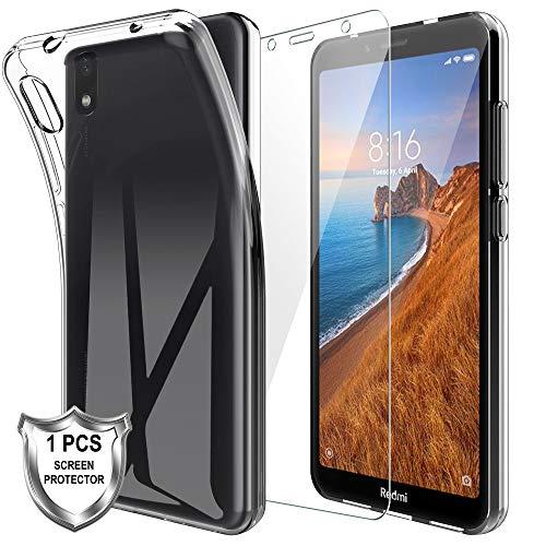 MP-MALL LK Compatible con Xiaomi Redmi 7a Funda con 1 Pack Protector de Pantalla Vidrio Templado, HD Transparente Carcasa Ultra Fina Suave TPU Silicona Gel Case Cover - Clara