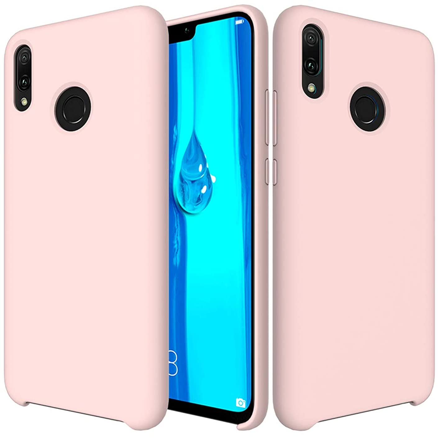 Huawei Y9(2019) Case,DAYJOY Candy Color Liquid Silicone Gel Rubber Shockproof Case with Soft Microfiber Cloth Lining Cushion for Huawei Y9(2019) (Pink)