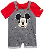 Disney Baby Boys' Mickey Mouse Romper - 2 Piece Overall and T-Shirt Set (Newborn/Infant), Size 3-6 Months, Dark Grey/Red Polka Dot Mickey
