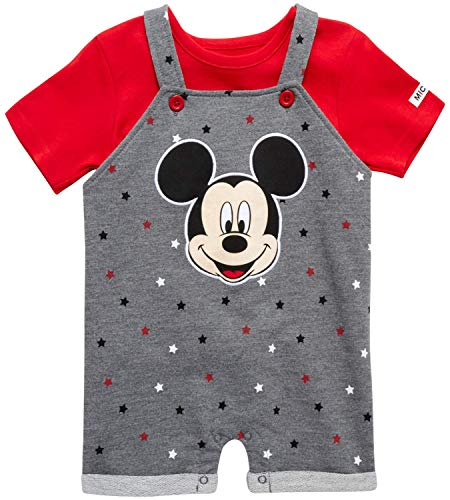 Disney Baby Boys' Mickey Mouse Romper - 2 Piece Overall and T-Shirt Set (Newborn/Infant), Size 18 Months, Dark Grey/Red Polka Dot Mickey