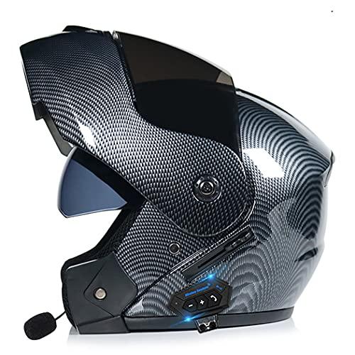 Smilfree Casco Integral Bluetooth Casco Modular De Motocicleta Visera Solar Dual Lente Antivaho Dot/ECE Aprobado Casco De Motocicleta AnticolisióN para Hombres Y Mujeres