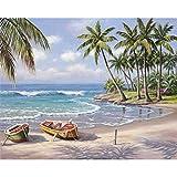 FVNR DIY pintura por números para adultos DIY Lienzo Set de arte de pared para regalo, playa, barco, capacidad práctica de mano, 16 x 20 pulgadas, sin marco