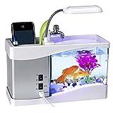 魚槽 卓上ミニ水族館 、SIMPLE DO 魚タンク 照明付き USB給電 ライトアップ 時計 温度計 カレンダー付き USBフィッシュタンク