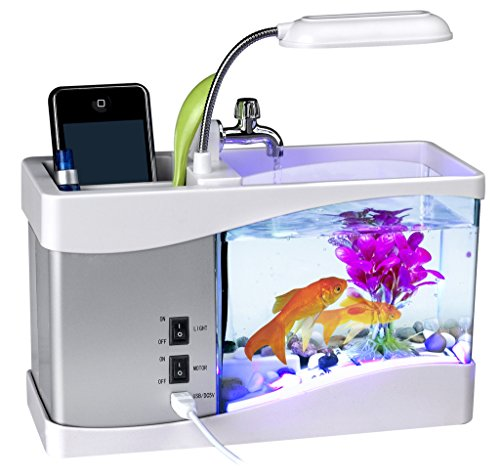 Desktop Fish Tank, Ayans USB Mini Aquarium Fish Tank with LED Light LCD Display Screen and Calendar Clock for Home,Office Decoration