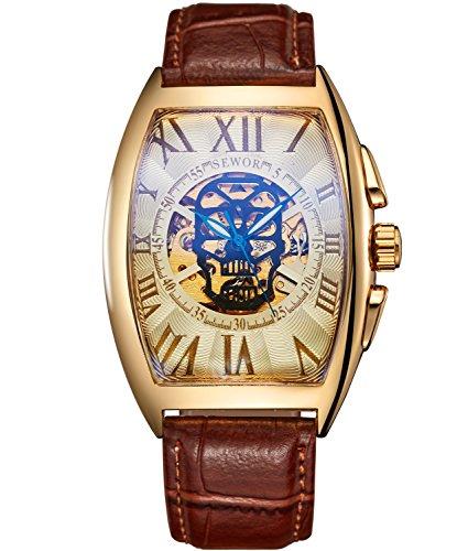 SEWOR Reloj de Pulsera mecánico automático, con Dibujo de Calavera, para Hombre, Correa de Piel, Revestimiento de Cristal Color Azul. (Oro & Blanco)
