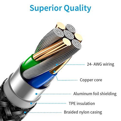 ESR USB C Lightning Kabel 1m MFi Zertifiziert, Nylon Ladekabel Power Delivery Schnelllademodus für iPhone 12/12 Mini/12 Pro/12 Pro Max/SE/11/XR/XS/X/8 zur Benutzung mit Typ-C Ladegeräten,Schwarz.