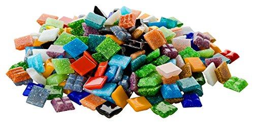 Fliesenhandel Fundus 1 Kg Glasmosaik 1x1cm Premium Qualität - ca.1500 Stück Glasmosaiksteine bunt 10x10