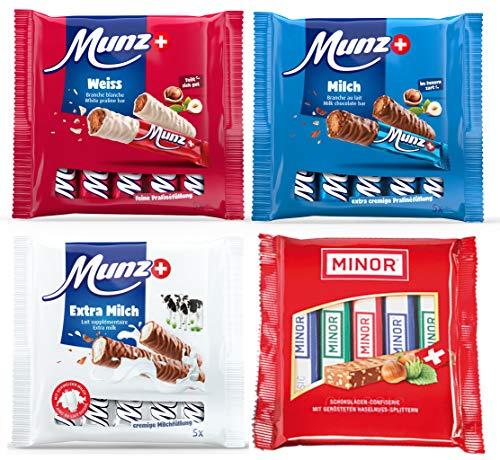 MINOR MUNZ Schokoladen Riegel Set | 20 Schokoriegel | 5 x Extra Milch, 5 x Classic, 5 x Milch, 5 x Weiße Schokolade | Prügeli, Branches, Praliné aus der Schweiz