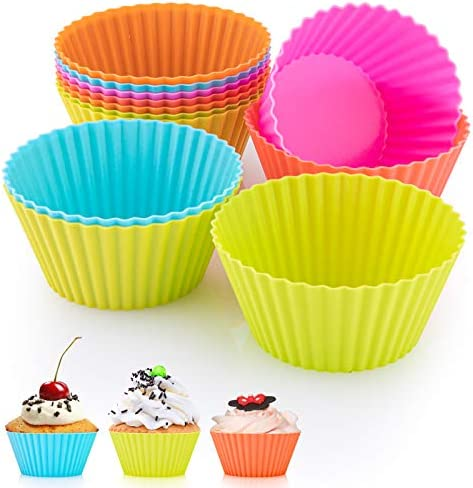 MOZUVE Silicone Cupcake Baking Cups Reusable Cupcake Liners 2 75 inch Non Stick Silicone Muffin product image