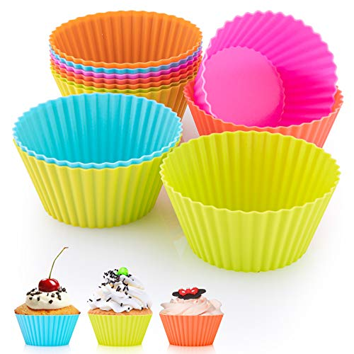 MOZUVE Silicone Baking Cups, Resusable Cupcake Liners, 2.75 inch Non stick Muffin Liners Cupcake Jumbo Baking Cups, 12 Packs