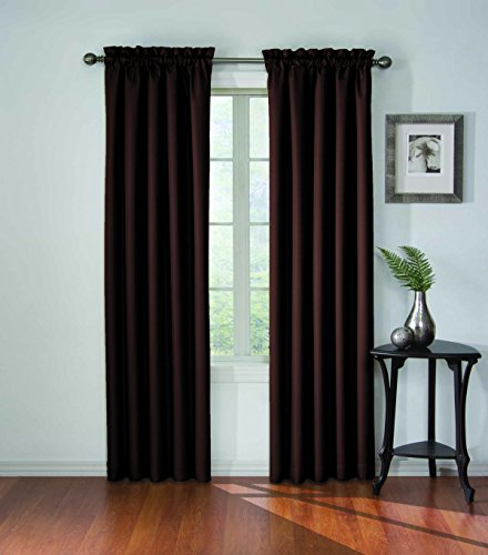 ECLIPSE Corinne Thermal Insulated Single Panel Rod Pocket Darkening Curtains for Living Room, 42 in x 84 in, Espresso