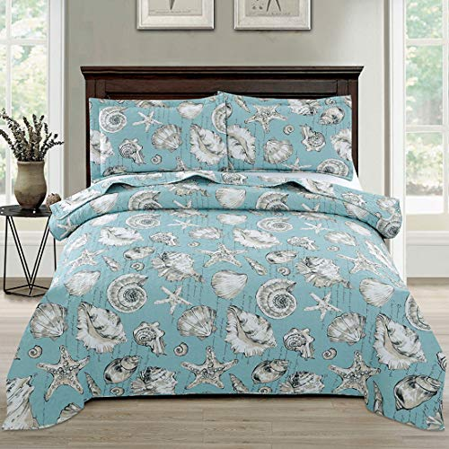 Junsey Beach Quilts Set King Size Seashell Conch Bedspreads,3Pcs Ocean Theme Starfish Coverlet Set Lightweight Quilt Reversible Bedding Cover Pillow Shams,Blue