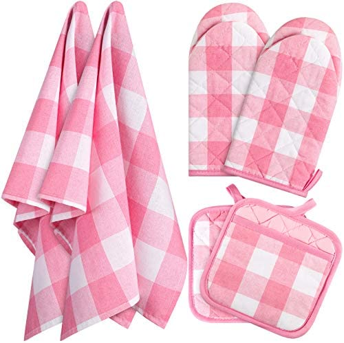 6 Pieces St Patrick s Valentine s Day Check Plaid Dish Towels Pot Holders Oven Mitts Set Cotton product image